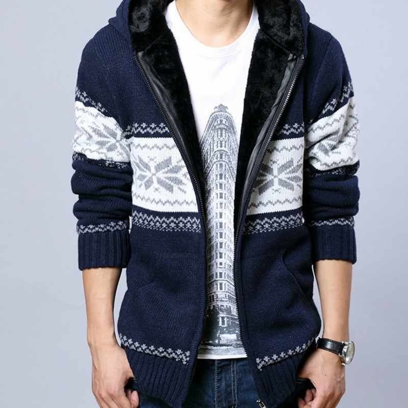 Men Winter Thick Fur Lining Warm Sweatercoat Kawaii Pattern Casual Cardigan Male Outwear Sweater Hooded Knitted Sueter Hombre