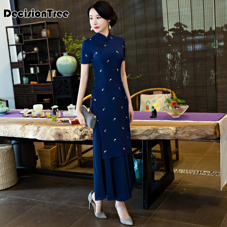 2020 Ao Dai Improved Aodai Vintage Ethnic Aodai Vietnam Clothing Women Traditional Asian Dress Elegant Party Dress