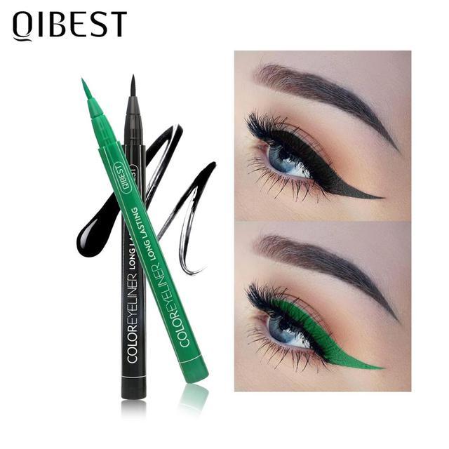 QIBEST-Juego de delineador de ojos colorido, 12 colores, resistente al agua, maquillaje de larga duración, delineador líquido de Ojos de gato, lápiz cosmético 6