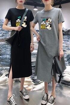 Summer Cartoon women dress short sleeve printed O-Neck Medium long black Plus Size dresses Female Casual clothes 2019 vestidos 5