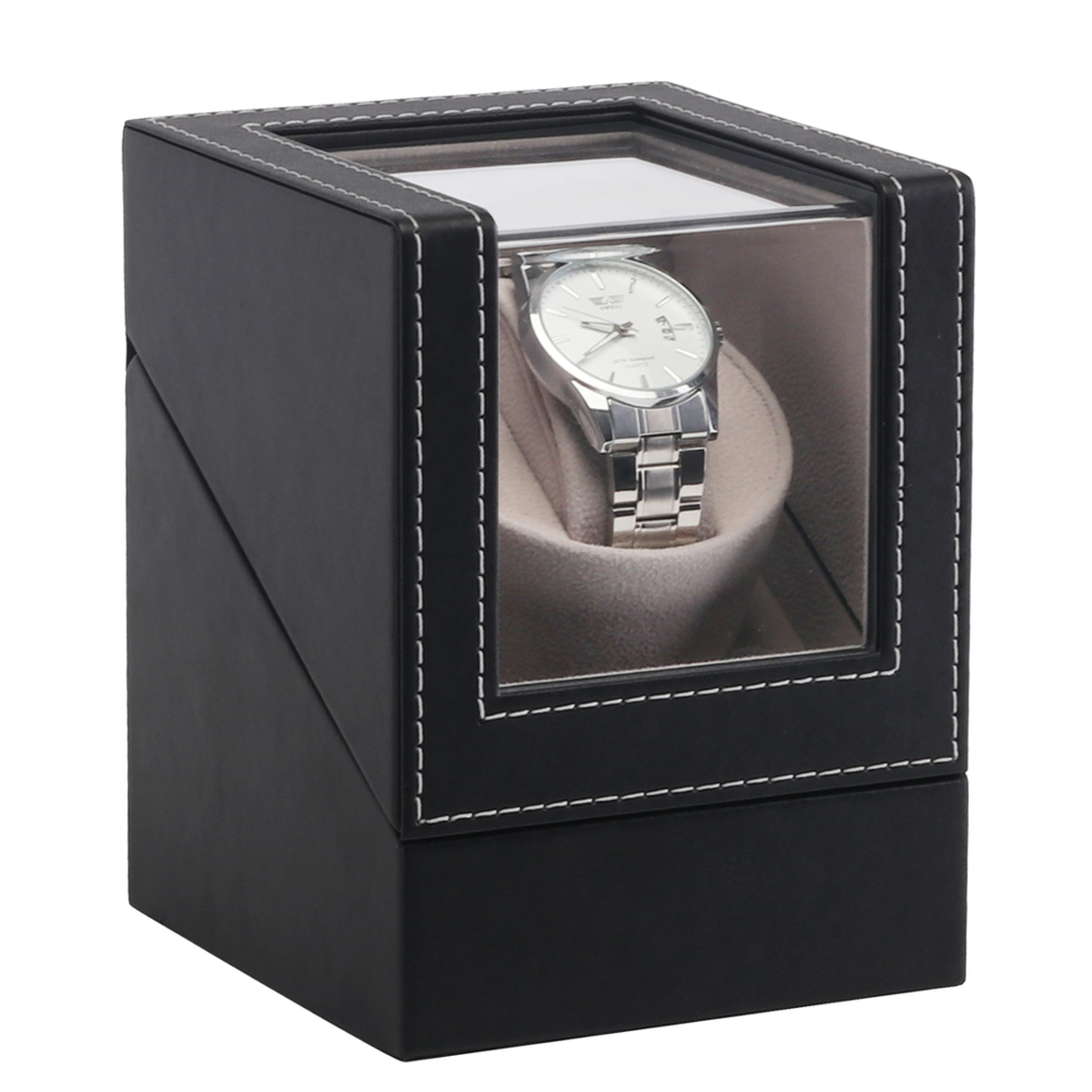 Jewelry Automatic Mechanical Case Watch Winder Organizer Motor Shaker Wristwatch Display Box Luxury PU Leather Transparent Cover
