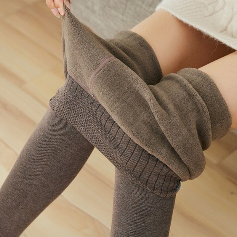 Hips Lambs Leggings Women's Combed Cotto One-piece Pants Slim  Warm  Cold-resistant