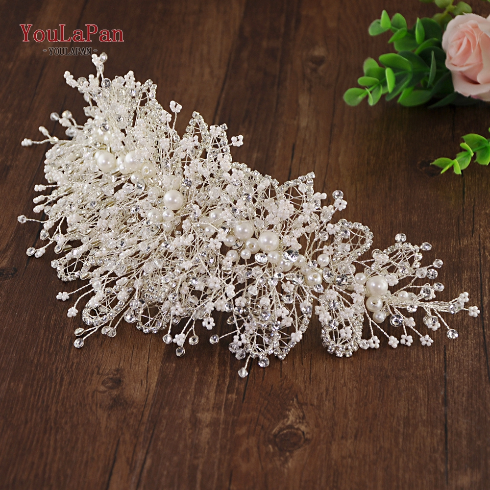 YouLaPan Wedding Crown Fascinators Multilevel Pearl Rhinestone Wedding Hair Accessories Fancy Wedding Bridal Headpieces HP245