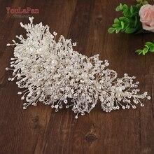 YouLaPan tocado de corona para boda, accesorios para el cabello de boda con diamantes de imitación y perlas multinivel, HP245