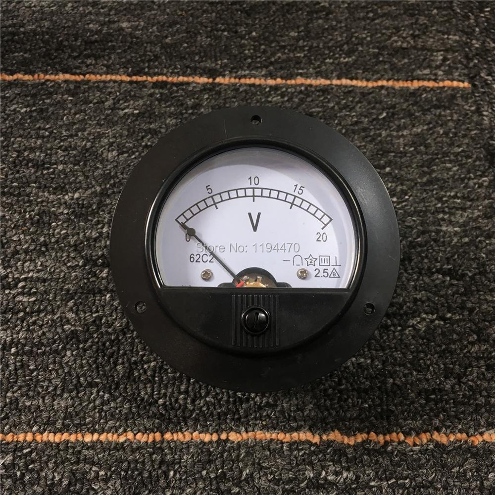 Medidor de Painel Rodada Analógico Volt Voltage Meter Voltímetro Classe 2.5 Pointer Mecânica Medidor 20v 1pcs 62c2 dc 0-20v