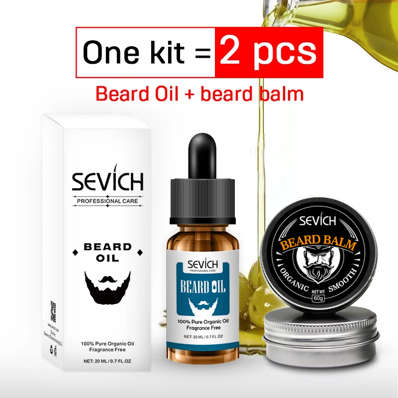 one set 2pcs beard growth product Natural Beard Balm For Smooth Beard oil Professional For Growth Organic Mustache Wax Styling image