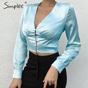 Image 5 - Simplee Sexy v neck z długim rękawem niebieska jednokolorowa bluza koszule Party elegancki czarny krótkie topy Highstreet przyciski eleganckie bluzki koszule