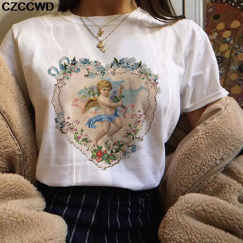 Women Clothes 2019 Vintage Angel Print Pink   T     Shirt   Personality Vogue New Harajuku Casual Aesthetics White Tops Female   T  -  shirt