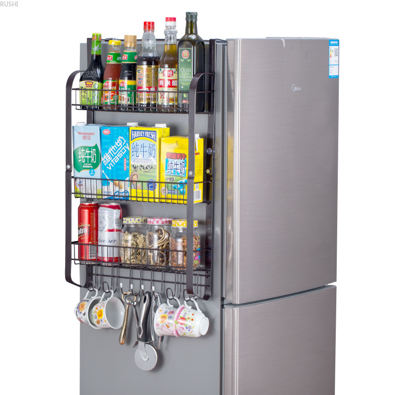 Big Capacity Refrigerator Side Wall Rack Condiment Shelf Kitchen Seasoning Rack Wall Mounted on Refrigerator Storage Rack