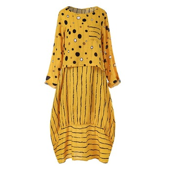Echoine Women long maxi dresses Polka dot large loose fake two-piece cotton linen dress autumn plus size sundress female cloth 4