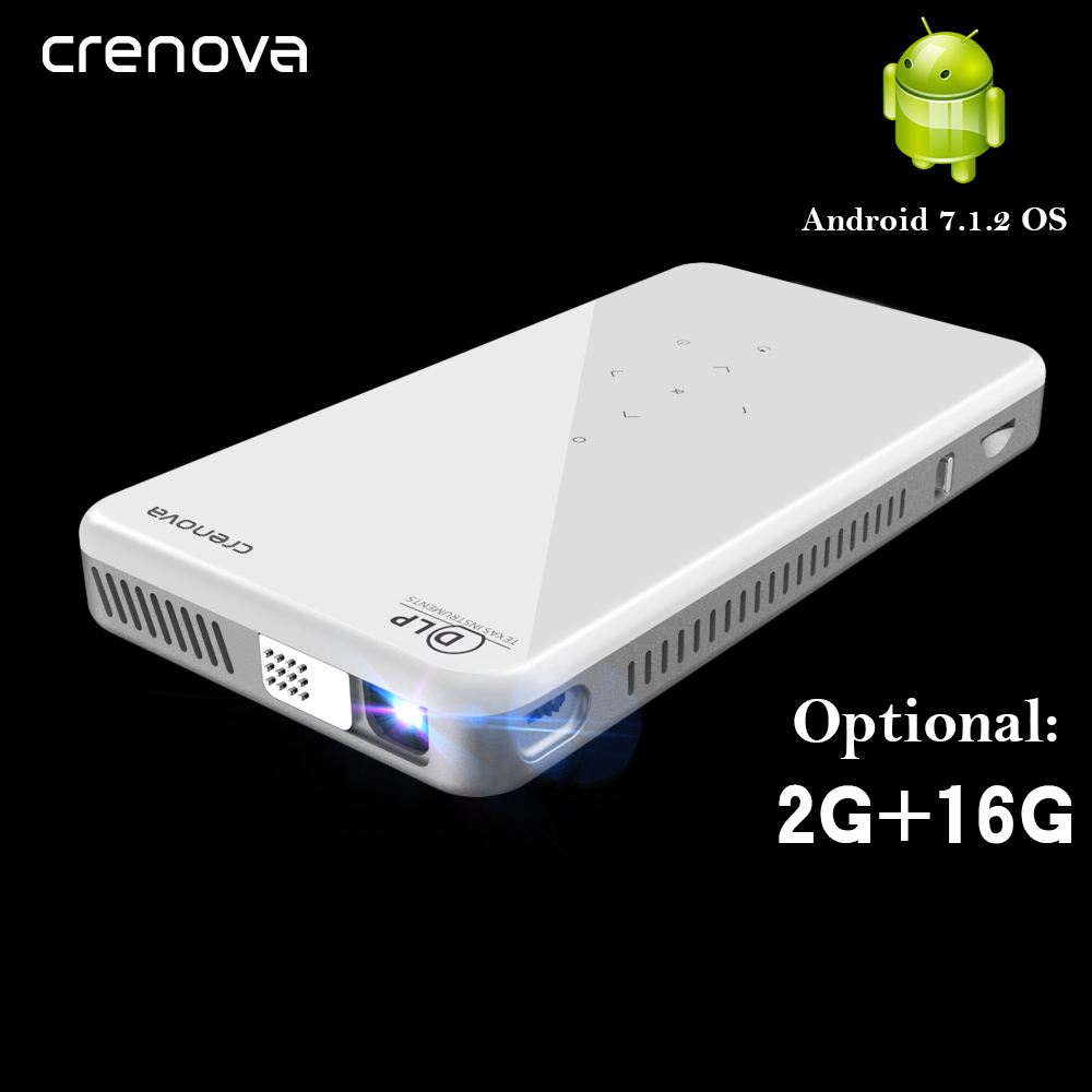 CRENOVA 2019 Newest Mini DLP Projector X2 With Android 7 1 WIFI Bluetooth  2G 16G  Support 4K LED Portable 3D Projector Beamer