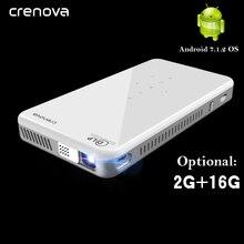 Crenova mini projetor x2, novo mini projetor dlp com android 2019, wifi, bluetooth (2g + 16g), 7.1 suporte 4 k led portátil projetor 3d