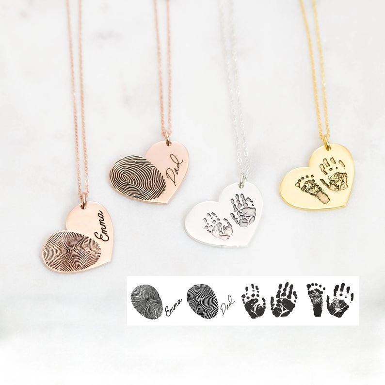 Actual Fingerprint Necklace,Engraved Fingerprint Handwriting Jewelry, Custom FootPrint  Necklace, Personalized Heart Jewelry