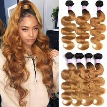 Cheveux brésiliens paquets Ombre rouge brun vague de corps cheveux armure faisceaux 8 26 pouces KEMY cheveux non remy Extension de cheveux 1PC