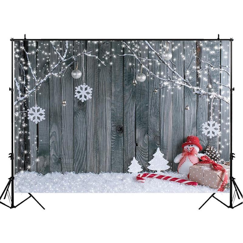 Winter Christmas Wooden Photography Backdrops Snowman Decor Tree Backdrop Newborn Baby Kids Background