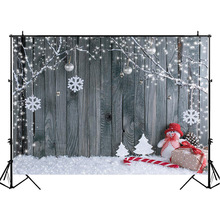 Winter Christmas Wooden Photography Backdrops Snowman Decor Tree Backdrop Newborn Baby Kids Background