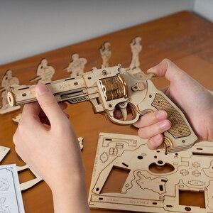 Image 3 - Robotime ROKR Revolver Gun Model Toys 3D Wooden Puzzle Games Crafts Gift For Children Kids Boys Birthday Gift