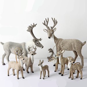 Christmas Elk Plush Reindeer Christmas Decoration Christmas Deer Fairy Garden Miniatures Props Simulation Children's Gift xx119