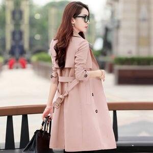 Image 1 - Primavera trench coat para a a primavera para mulher streetwear de volta gola dupla breastecasaco feminino plus tamanho 3xl xxxl sobretudo feminino