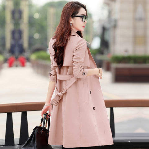 Spring Trench Coat for Women Streetwear Turn-down Collar Double Breasted Coats Female Plus Size 3XL XXXL Sobretudo Feminino title=