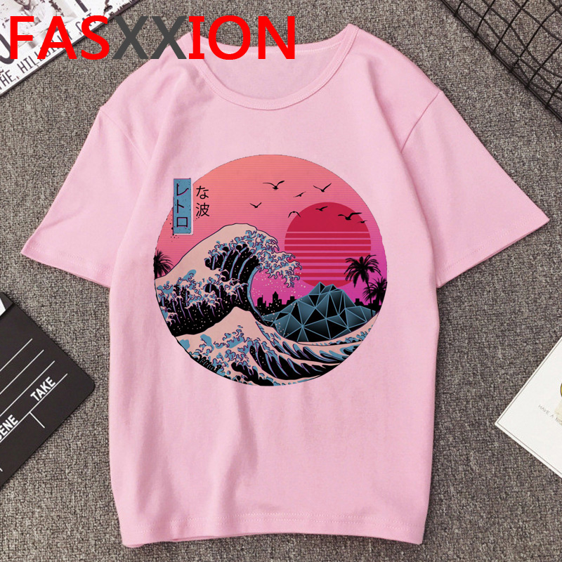 Vaporwave T Shirt Men Funny Print Summer Top Cartoon Graphic Tees Kawaii The Great Wave Tshirt Aesthetic Unisex T-shirt Male