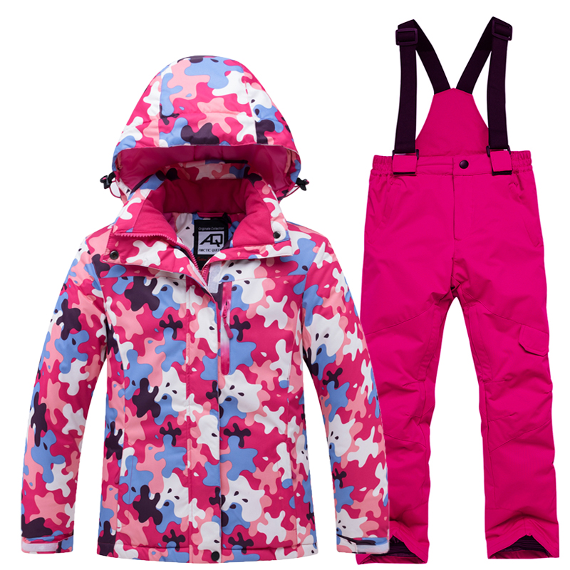 New Colorful Children's Snow Clothing Snowboarding Suit Sets Waterproof Breathable Sports Wear Boy Or Girl Ski Jacket And Strap Snow Pant Kids Costume