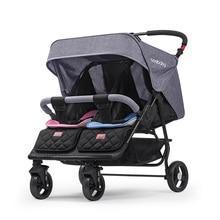 Складная коляска-двойняшка для детей 0-4 лет, может лежать коляска-двойняшка, четыре колеса, поглощающая коляска-двойняшка, переносная тележка
