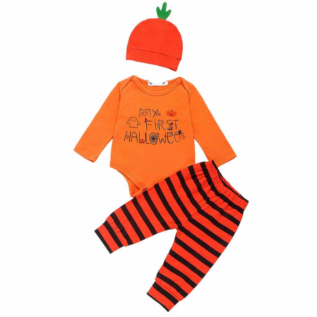 3 peças Set Bebê Crianças Blusa Manga Longa Romper o Dia Das Bruxas Conjunto De Pano Conjunto Topos + Tarja Calças + Cap Roupas infantil Menino