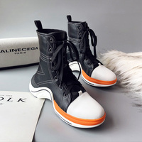 Personality Women Winter Lace Up Ankle Boots High Quality Street Style Black White Casual Platform Sneakers Short Plush Booties