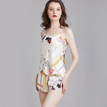 Samwestart 2020 new silk pajamas women summer sexy underwear thin suspenders shorts suit sexy pajamas Summer sleepwear(China)