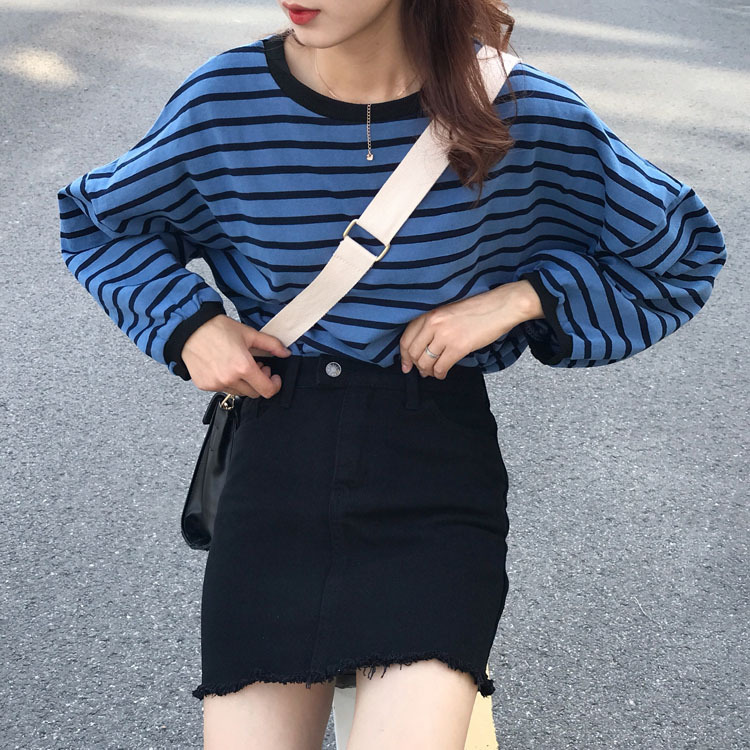 C2825 New Style Versatile Slimming A- Line Skirt Frayed Denim Skirt