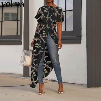 Women Asymmetrical Tops 2020 Summer Tunic Bohemian Ladies Shirts Vintage Floral Printed Long Blouse Female Plus Size Blusa S-5XL 4