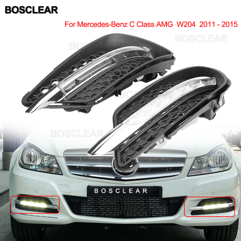 for mercedes benz w204 2008-2015 <font><b>C200</b></font> C260 C300 sport AMG fog lights LED DRL Daytime running light Daylight Fog Head Lamp Cover image