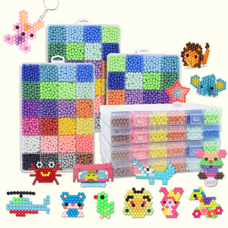 6000 Pcs DIY Magic Beads Animal Molds Hand Making 3D Puzzle Kids Educational Beads Toys For Children Replacement Boys And Girls