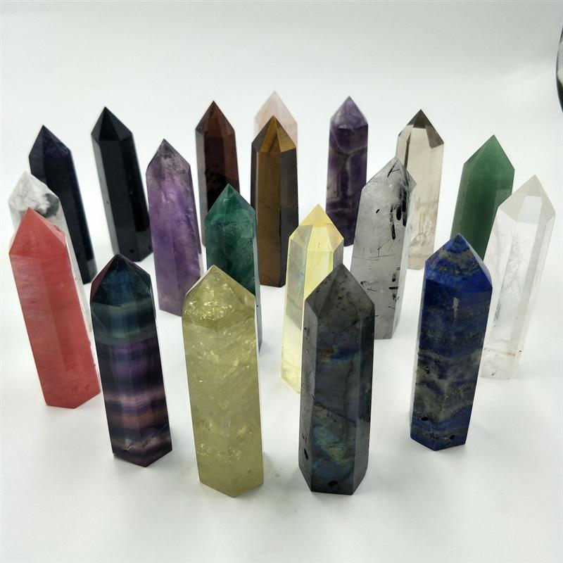 Natural Stones Minerals Crystals Wicca Rose Quartz Amethyst Labradorite Decoration Meditation Chakra Healing Crystal Column