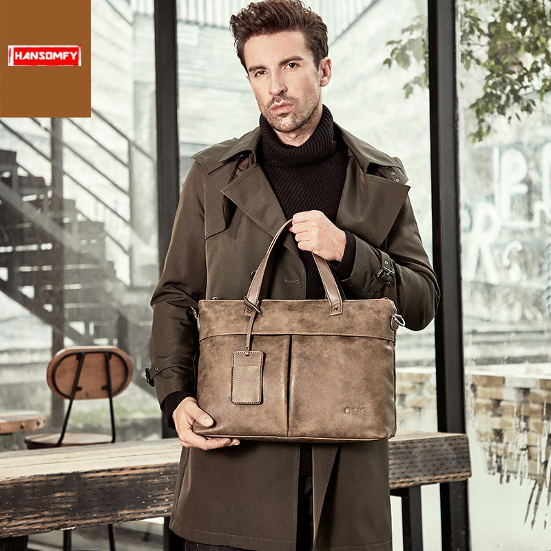 Men's Handbag Cross-section Shoulder Messenger Bag Trend Men Business 15.6 Inch Laptop Briefcase Multi-function Computer Bags