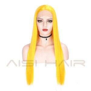 Image 3 - AISI HAIR สีขาวสังเคราะห์ลูกไม้ด้านหน้าด้านหน้าวิกผมยาวตรงวิกผมผู้หญิง 24 นิ้วกลางสีดำสีแดงคอสเพลย์หรือ wigs 13X4