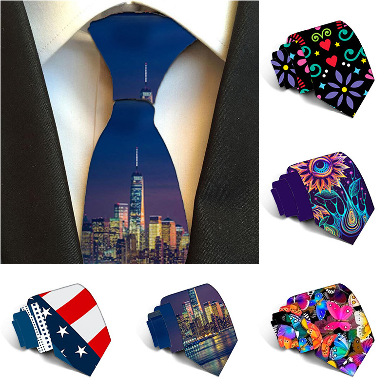 Free Shipping Funny Men Ties 2019 Fashion Printed Ties For Men Casual 8 Cm Neck Ties Wedding Party Accessories Gravatas 6J-LD47
