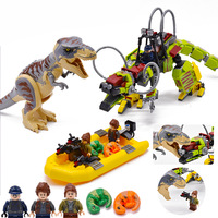 2019 Jurassic Park 2 Tyrannosaurus Rex War Mech Dragon Compatible Legoingely Dinosaur 75938 Building Blocks Toys for Children