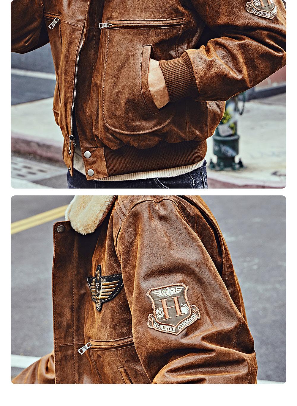 H4f608eba4bd34db08843a78ee6827938V FLAVOR New Men's Real Leather Bomber Jacket with Removable Fur Collar Genuine Leather Pigskin Jackets Winter Warm Coat Men