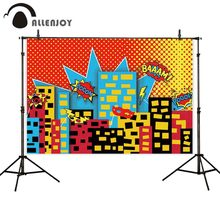 Allenjoy superhero photo background Baby Birthday Backdrop for Photography Children Cake Smash Photocall photophone wallpaper allenjoy photography backdrop frozens wonderland forest snow queen birthday fairy tale party deco photo background photophone