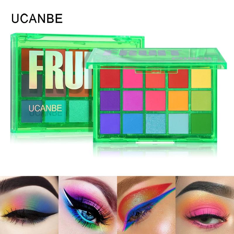 UCANBE Sweet Party Eyeshadow Pallete Neon Makeup Palette 15 Shimmer Glitter Matte Shades Matellic Nude Blendable Pigment Powder