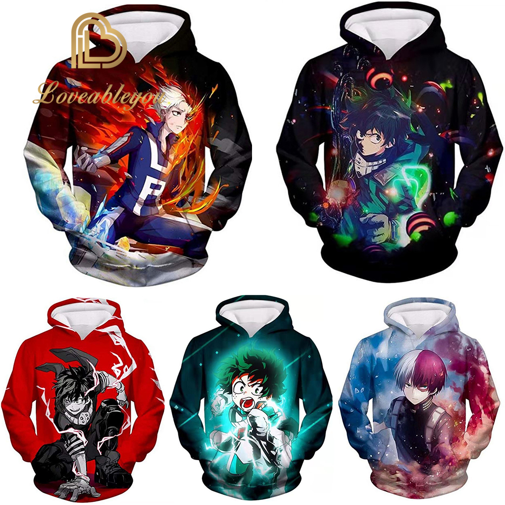 Anime My Hero Academia Cosplay Costumes Coat Jacket Sweater T-shirt Casual Hoodie Autumn Fashion Women Halloween Costumes Men