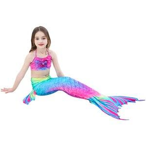 Одежда для маленьких девочек розовые, синие Купальные платья маскарадный костюм с хвостом русалки пляжная одежда купальный костюм, Повседн...