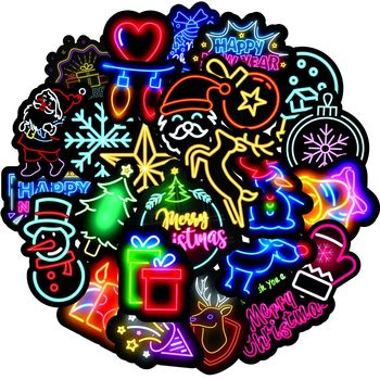50 PCS Neon Light Sticker Anime Icon Animal Cute Decals Stickers Gifts for Children To Laptop Suitcase Guitar Fridge Bicycle Car image