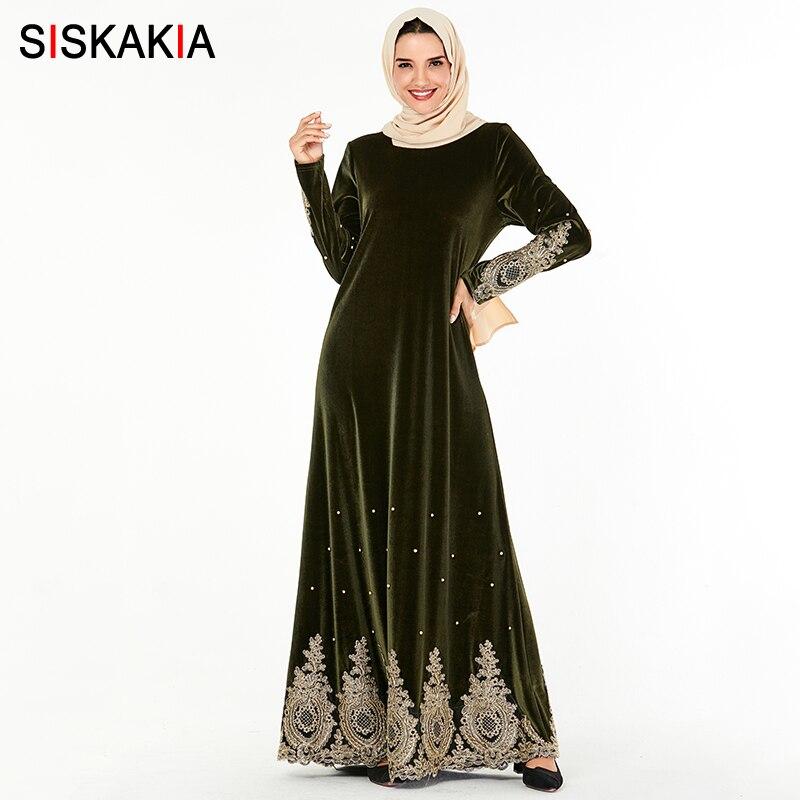 Siskakia Muslim Evening Dresses Chic Paisle Embroidered Beads Velvet Long Dress Plus Size Arabian Dubai Morocco Clothes Green