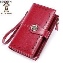 Sendefn rfid новые мужские бумажники и кошельки из натуральной
