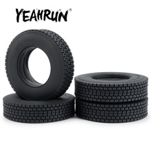 YEAHRUN 4# Front & Rear Black Rubber Tyres 22mm Width Wheel Tires for Tamiya 1:14 RC Trailer Tractor Truck Upgrade Parts