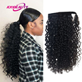 Curly Drawstring Ponytail Virgin Human Hair With Clip In Wrap Around Hair Extension Thick Women Hairpiece Brazilian Hairstyle