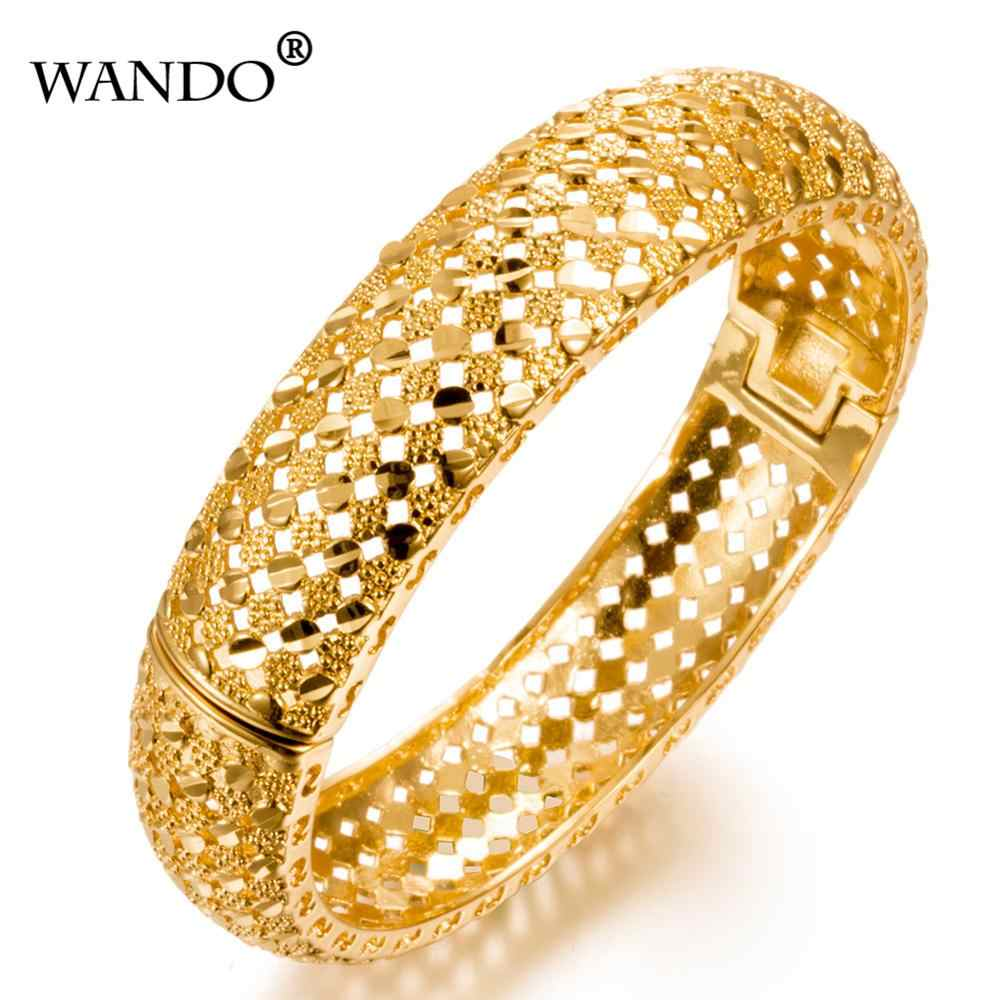 WANDO Fashion Ethiopian Bangles For Women Gold Color Dubai/African/Arab/Middle East Bracelets Party Wedding Gifts can open B24